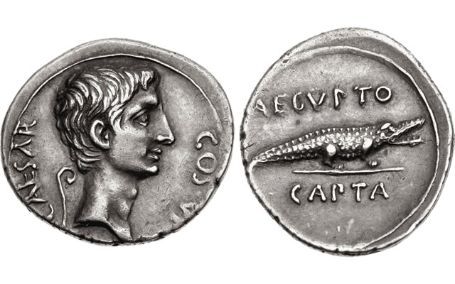 Crocodiles on Roman coins most familiar as the emblem of the province of Egypt