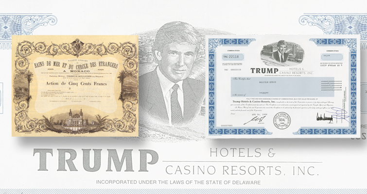 Trump Hotels stock certificate