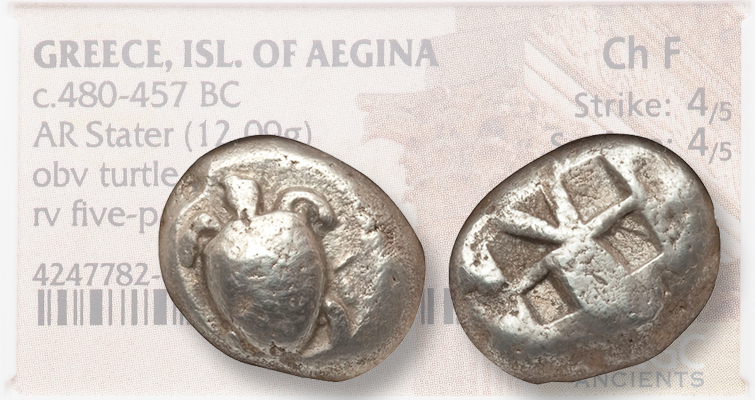 Aegean Turtle stands on this Greek silver stater of 480 to 457 B.C.
