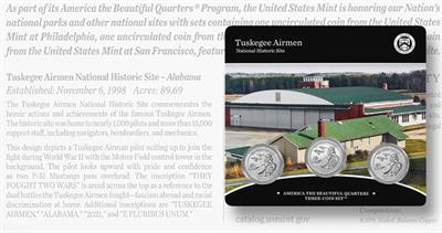Tuskegee quarter dollar three-coin set