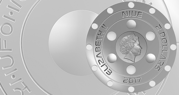 Paris-based private mint Art Mint has launched an intriguing new coin under the authority of Niue that commemorates the so-called Roswell Incident of 70 years ago. The obverse has a reduced-size effigy of Queen Elizabeth and small circles arranged in a circular pattern, while the reverse is convex and struck in ultra-high relief with various details to fit the topic, such as made-up alien text .