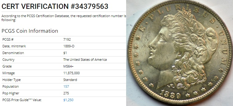 Any serious Morgan aficionado knows not only that the 1889-O is a condition rarity in high Mint State but also must know how to grade, to determine what the coin in high Mint State grades looks like.