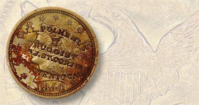 1854-O counterstamped quarter eagle