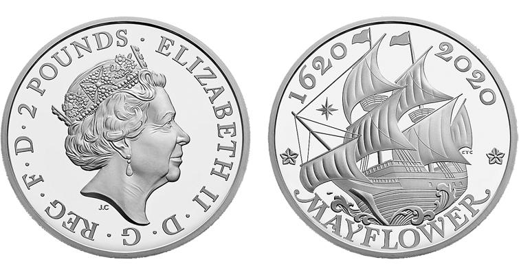 UK Mayflower silver coin