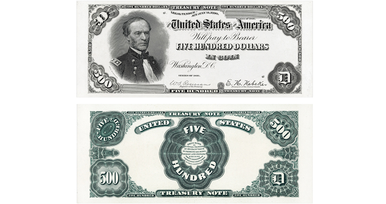 Proof Print by the BEP Back of Series 1882 $500 Gold Certificate Eagle
