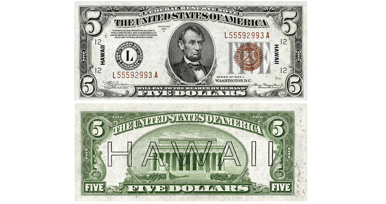 After Japan attacked Pearl Harbor, the United States became concerned that the enemy might occupy the islands. In answer to the threat, the Bureau of Engraving and Printing produced special paper money for use in Hawaii.