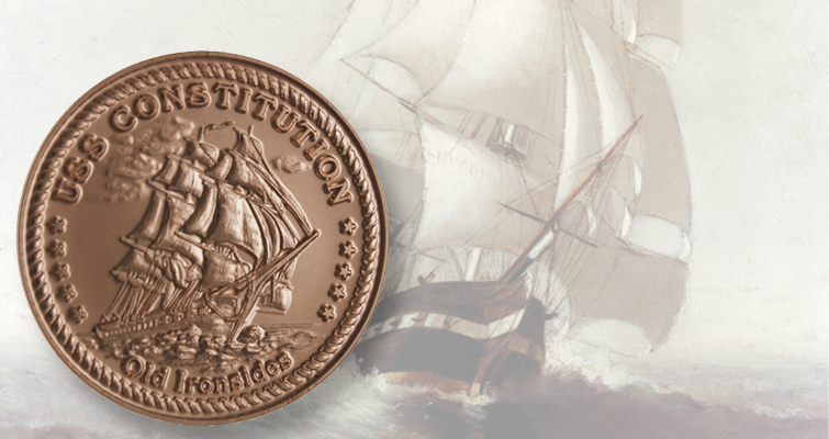 Limited Edition Copper Medal Depicts Old Ironsides Coin