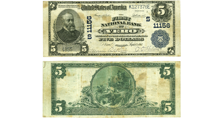Series 1902 Plain Back $5 national bank note of First National Bank of Vero Beach