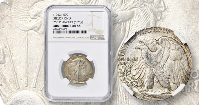 What a 1942 Walking Liberty half dollar struck on a quarter planchet sells for