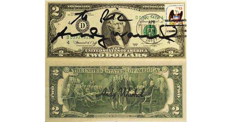 Bicentennial era $2 bill signed by Andy Warhol