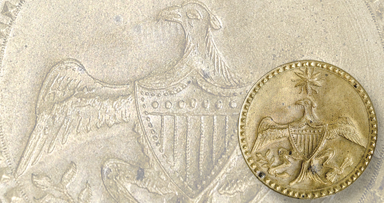 Early American features George Washington, Eagle and Star inaugural button
