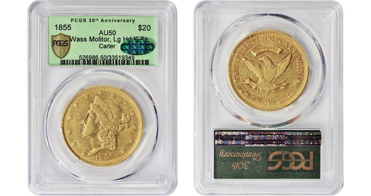 1855 Wass Molitor gold $20