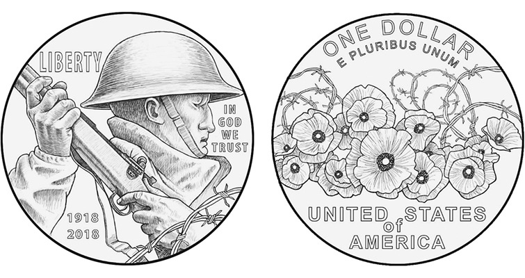 "The World War One American Veterans silver dollar's chosen obverse design, titled ""Soldier's Charge"" features a battle-hardened soldier gripping a rifle.The approved reverse, titled ""Poppies in the Wire,"" illustrates poppies with intertwined barbed wire."