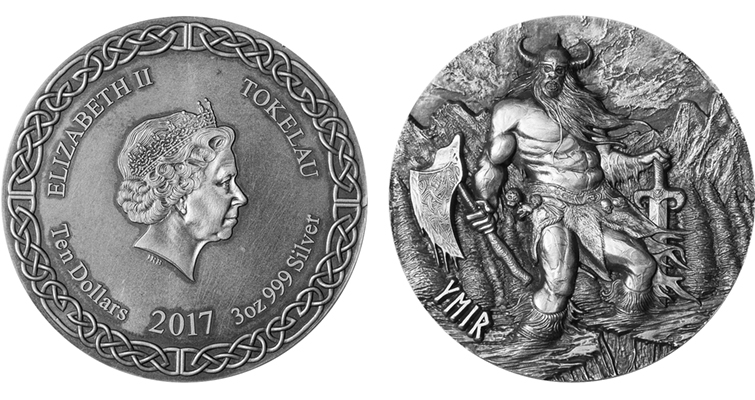 Also from Choice Mint's founder and president Brian Tully, the reverse of this Tokelau Ymir $10 coin in the Legends of Asgard series features a menacing Ymir emerging from ice while brandishing an intimidating ax and sword, while the obverse features her royal majesty, Queen Elizabeth II.