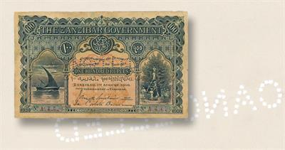 Zanzibar 100-rupee note